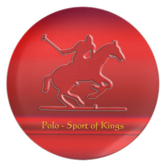 Embossed Polo Pony and Rider, red chrome-look Dinner Plate