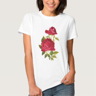 Embroidered Red Roses Tees
