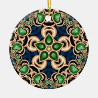 Emerald Jewels Kaleidoscope Round Ceramic Decoration