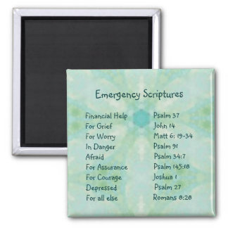 Emergency Information Scriptures for Encouragement Square Magnet