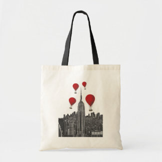 Empire State Building and Red Hot Air Balloons Budget Tote Bag