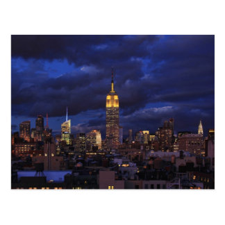 Empire State Building in Yellow, Twilight Sky 02 Postcard