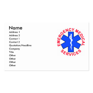 EMS EMT Contact Card Pack Of Standard Business Cards