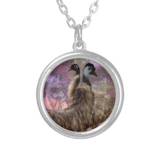 Emu Dreaming, Round Pendant Necklace.