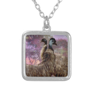 Emu Dreaming Square Pendant Necklace