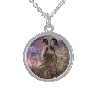 Emu Dreaming, Sterling Silver Pendant Necklace.