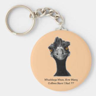 Emu: Funny, Humor: Too Many Coffees: Art Basic Round Button Key Ring