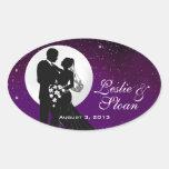 Enchanted Evening Nighttime Wedding Favour Oval Sticker