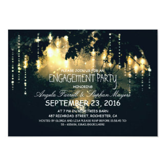 Enchanted string lights trees engagement party 13 cm x 18 cm invitation card