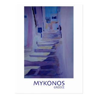 Enchanting Mykonos Greece View with Stairs Postcard