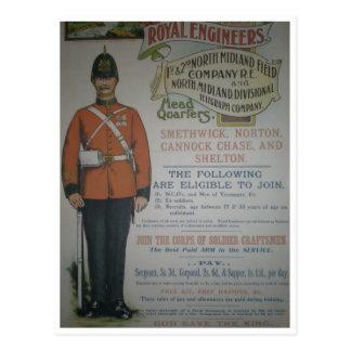 England Royal Engineers recruitment poster 1890 Postcard