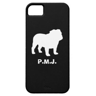 English Bulldog Silhouette with Custom Text Case For The iPhone 5