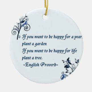 English proverb round ceramic decoration