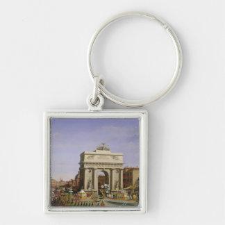 Entry of Napoleon I  into Venice, 1807 Silver-Colored Square Key Ring