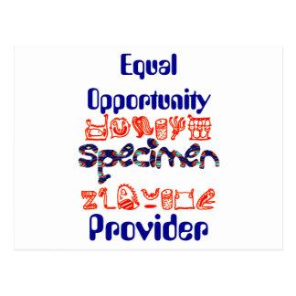 Equal Opportunity Specimen Provider Postcard