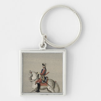 Equestrian portrait of Prince Charles Silver-Colored Square Key Ring