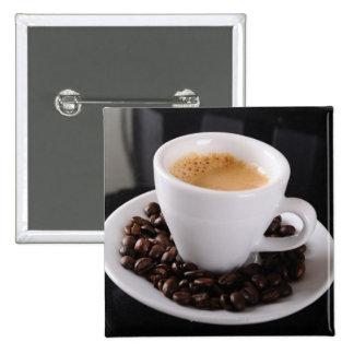 Espresso cup on black granite counter 15 cm square badge