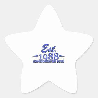 Established in 1988 birthday designs star sticker