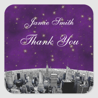 Etched NYC Skyline 2 Purple Gold Star Thank You Square Sticker
