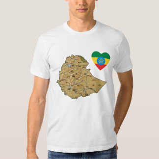 Ethiopia Flag Heart and Map T-Shirt