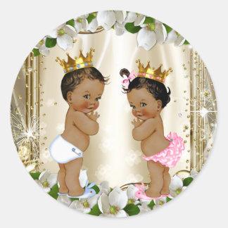 Ethnic Prince Princess Gender Reveal Baby Shower Round Sticker