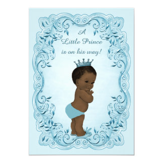 Ethnic Vintage Prince Blue Baby Shower 13 Cm X 18 Cm Invitation Card