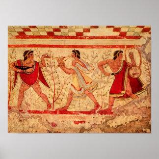 Etruscan musicians poster