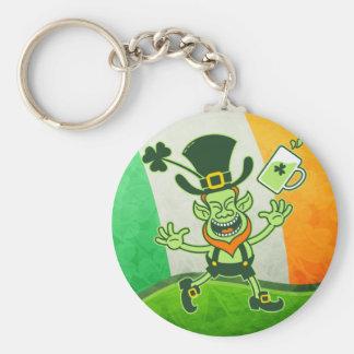 Euphoric Leprechaun Celebrating St Patrick's Day Basic Round Button Key Ring