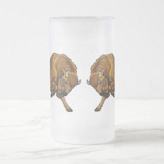 european bison frosted glass mug