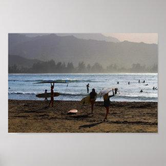 Evening Surfers, Hanalei Bay, Kauai Poster