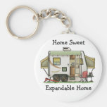 Expandable Hybred Trailer Camper Basic Round Button Key Ring