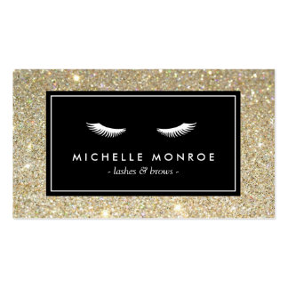 Eyelashes with Gold Glitter Business Card