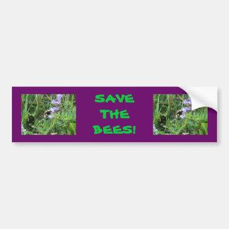F0002 Bee on Purple Wildflowers Bumper Sticker
