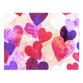Fab Pink & Purple Grungy Hearts Design Postcard