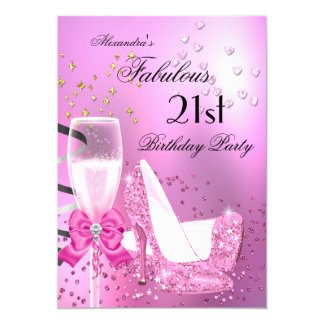 Fabulous 21st Shimmer Light Pink Heels Birthday 2 13 Cm X 18 Cm Invitation Card