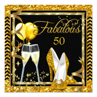 Fabulous 50 Champagne Gold Black Party Invite