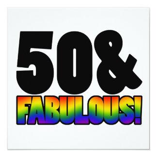 Fabulous Gay 50th Birthday 13 Cm X 13 Cm Square Invitation Card