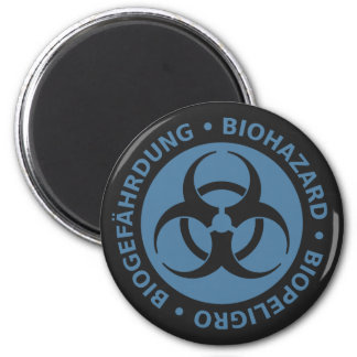 Faded Blue Trilingual Biohazard Warning 6 Cm Round Magnet
