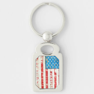 Faded Glory Silver-Colored Rectangle Key Ring