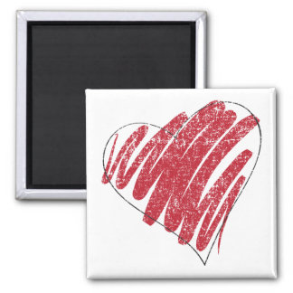faded heart square magnet