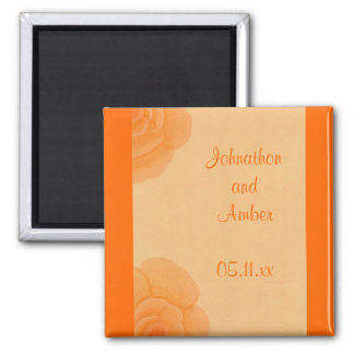 Faded Orange Roses Save the date Wedding Magnets