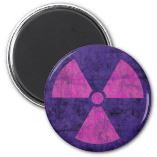 Faded Red and Purple Radiation Symbol Magnet