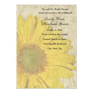 Faded Sunflower Vintage Wedding Invitation
