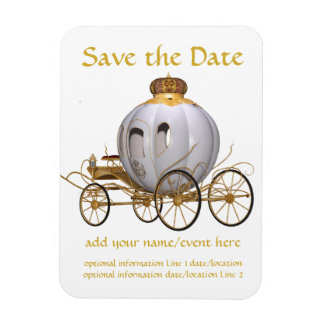 Fairy Tale Princess Carriage Save the Date Rectangular Photo Magnet