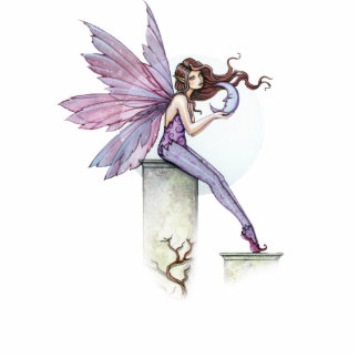 Fairy with Little Moon Sculpture Ornament Standing Photo Sculpture
