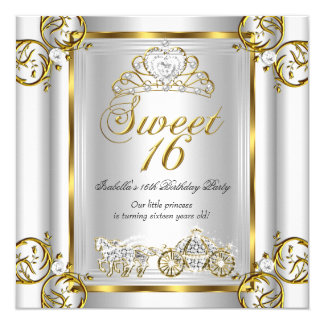 Fairytale Sweet 16 16th Birthday Gold Silver 3 13 Cm X 13 Cm Square Invitation Card