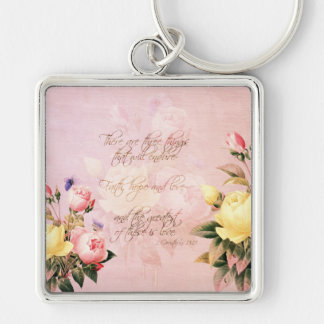 Faith Hope and Love Roses Silver-Colored Square Key Ring