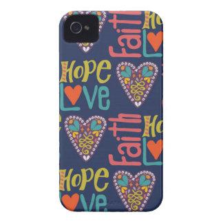 Faith Hope and Love Word Art iPhone 4 Cases