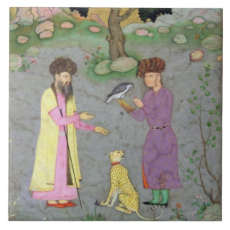 Falconer with companion and pet cheetah, from the large square tile