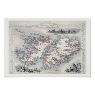 Falkland Islands and Patagonia, from a Series of W Poster